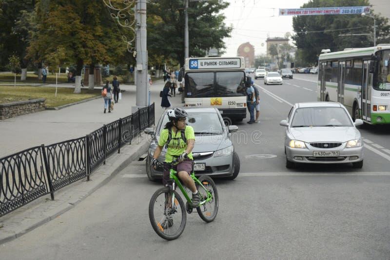 Rostov- op-trekt - de grootste stad in het zuiden van de Russische Federatie, het administratieve centrum van de Stadsmening van  royalty-vrije stock afbeelding