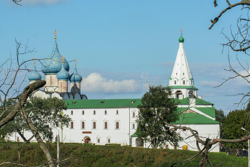 Beautiful old churches of Rostov. Religious architecture of Russia. 2009.08.08, Rostov, Russia. Beautiful old churches of Rostov. Religious architecture of royalty free stock image
