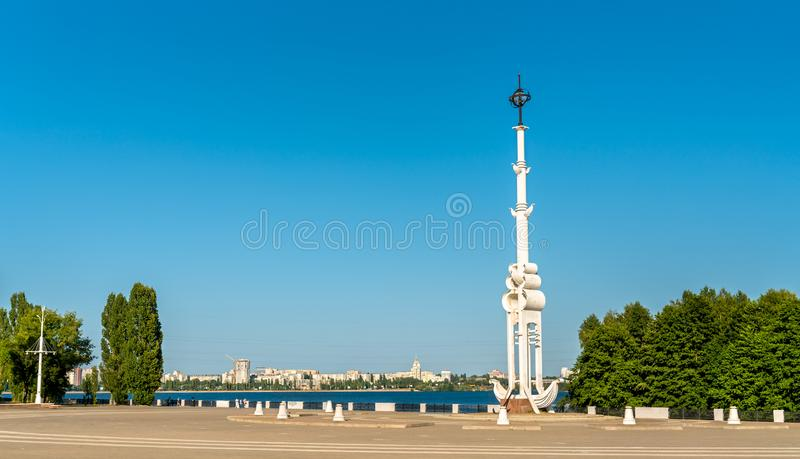 Rostral column on Admiralty Square on Petrovskaya Embankment in Voronezh, Russia stock photography