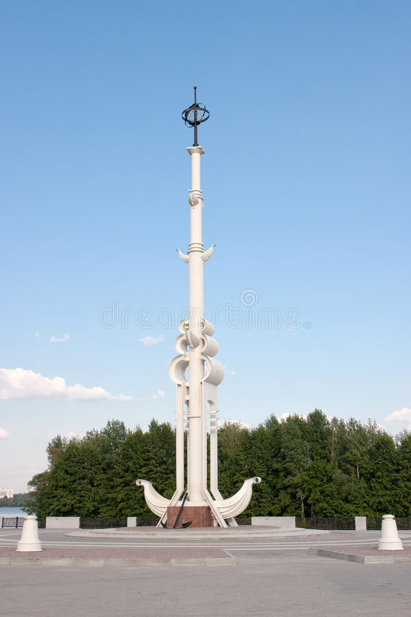 Rostral column on Admiralty square. In Voronezh, Russia stock photography