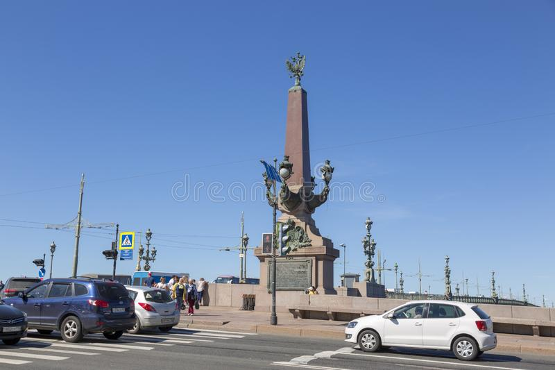 Rostral Column at the entrance to the Trinity Bridge in St. Petersburg royalty free stock images