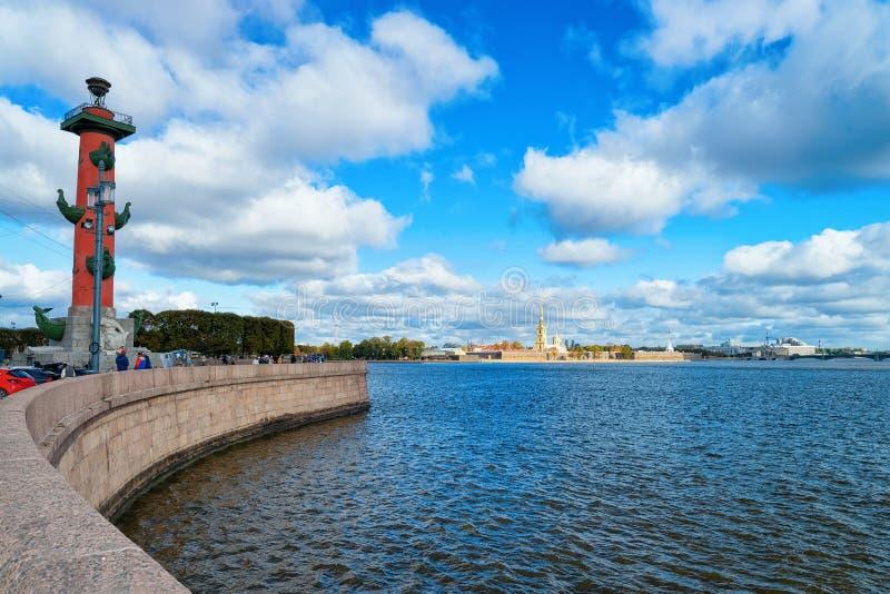 Rostral Column Neva River in St Petersburg, in Russia stock photo