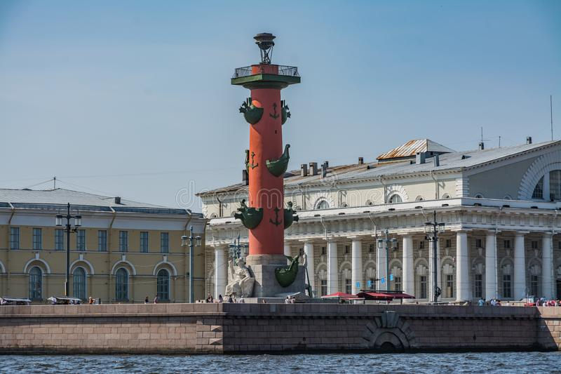 The Rostral Column at the Saint Petersburg. stock images