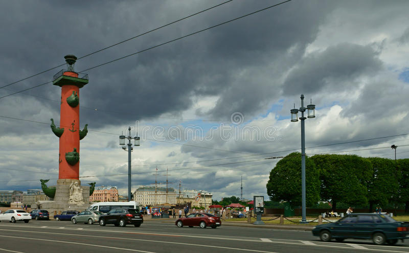 Rostral column in St. Petersburg stock photo