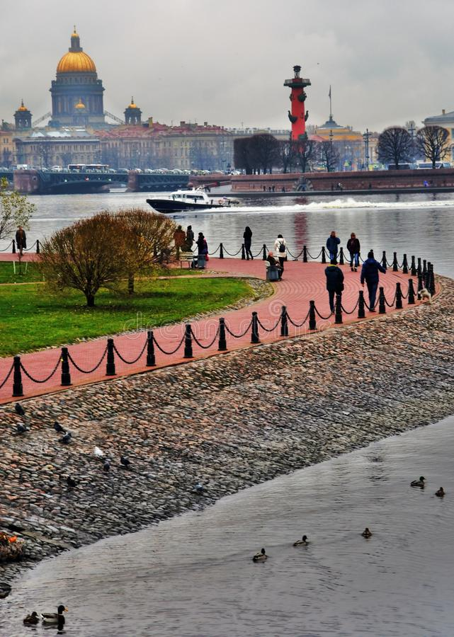 Rostral columns and Arrow of Vasivesky island in Saint-Petersburg, Russia. royalty free stock photography