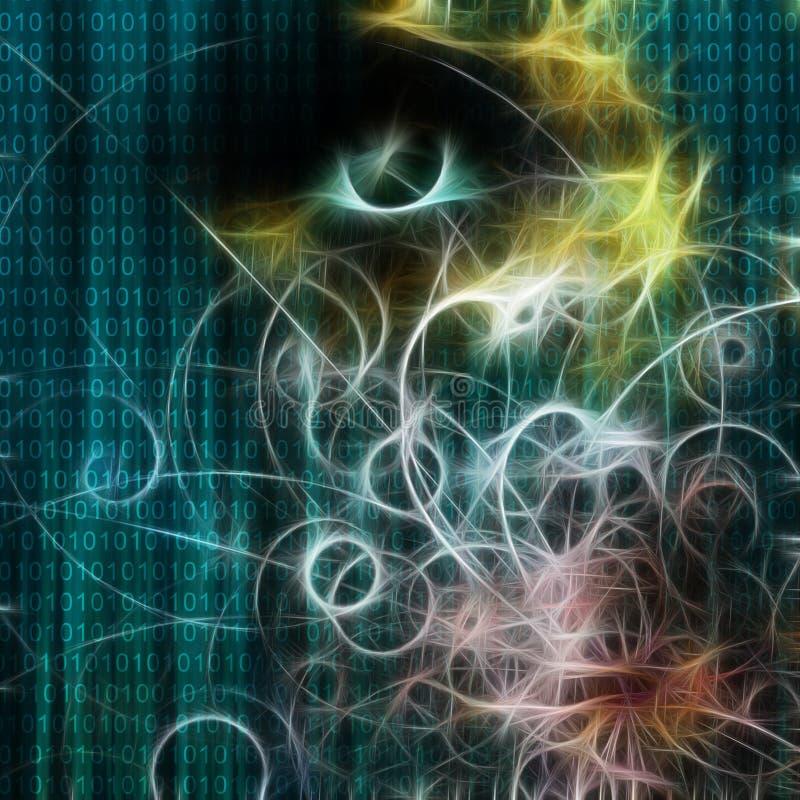 Rostro binario y humano de la máquina stock de ilustración