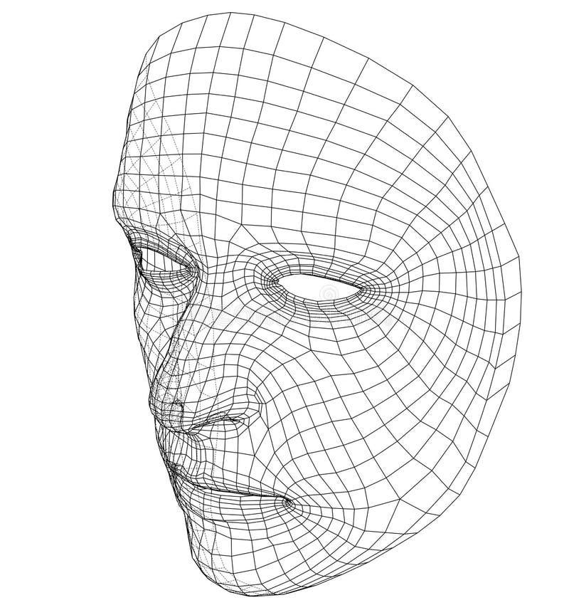 Rostro Humano Abstracto Del Alambre-marco Ilustración del Vector ...