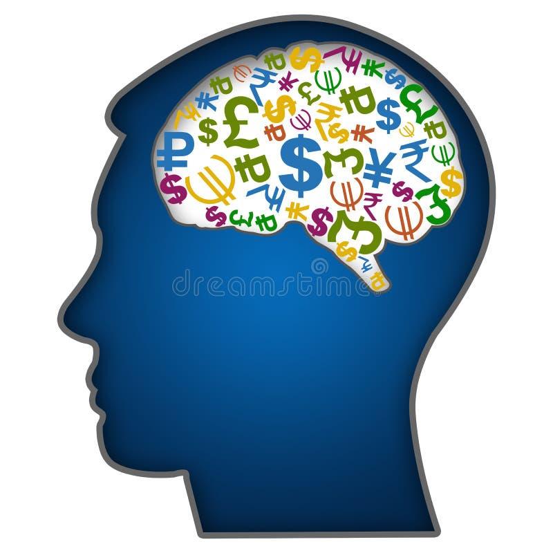 Rostro humano con símbolos de moneda en cerebro ilustración del vector
