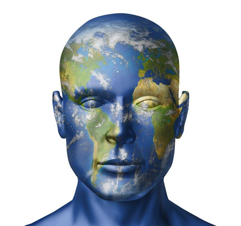 Rostro humano de la tierra ilustración del vector