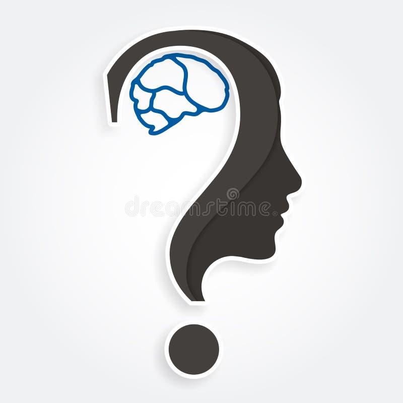 Rostro humano y cerebro con el signo de interrogación Educación y concepto de la innovación Vector ilustración del vector