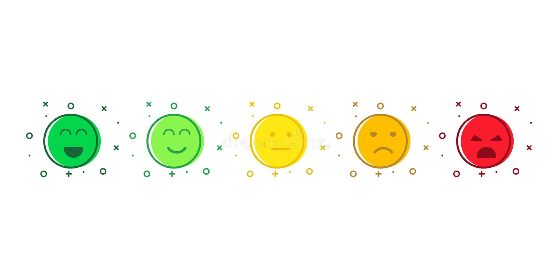 Rostros aislados de color emmoji o icono de la emoción Sonrisas coloridas en un chat divertido stock de ilustración