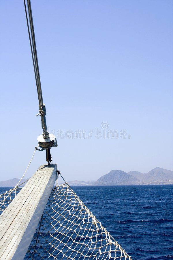 Rostrum. Sea landscape with detail of yachts royalty free stock photography