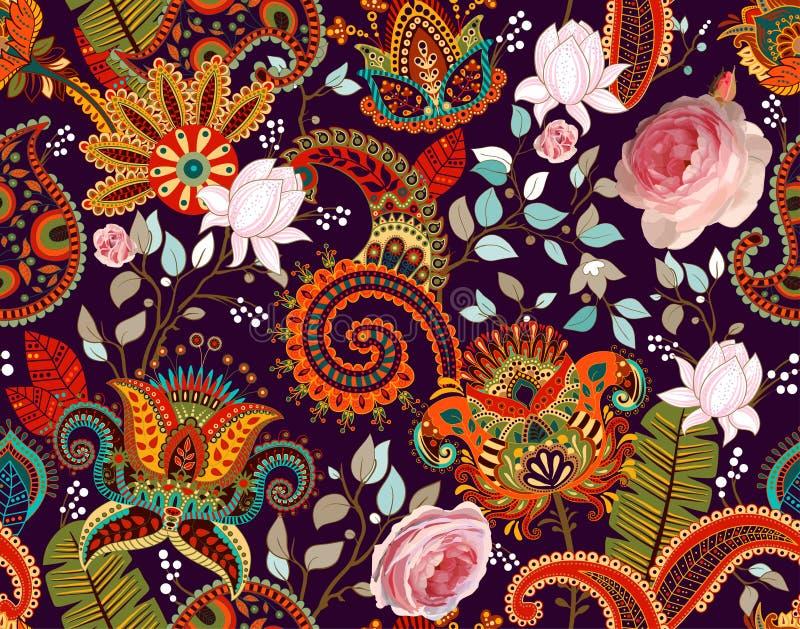 Rosvektormodell Paisley och rosor Färgrik sömlös blom- tapet, bakgrund vektor illustrationer