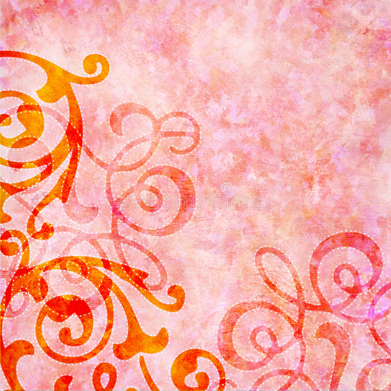 Rosy pink background with colorful swirls royalty free illustration