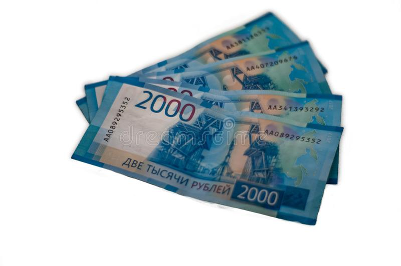 Rosyjscy banknoty rozpraszający na stole w górę obrazy royalty free