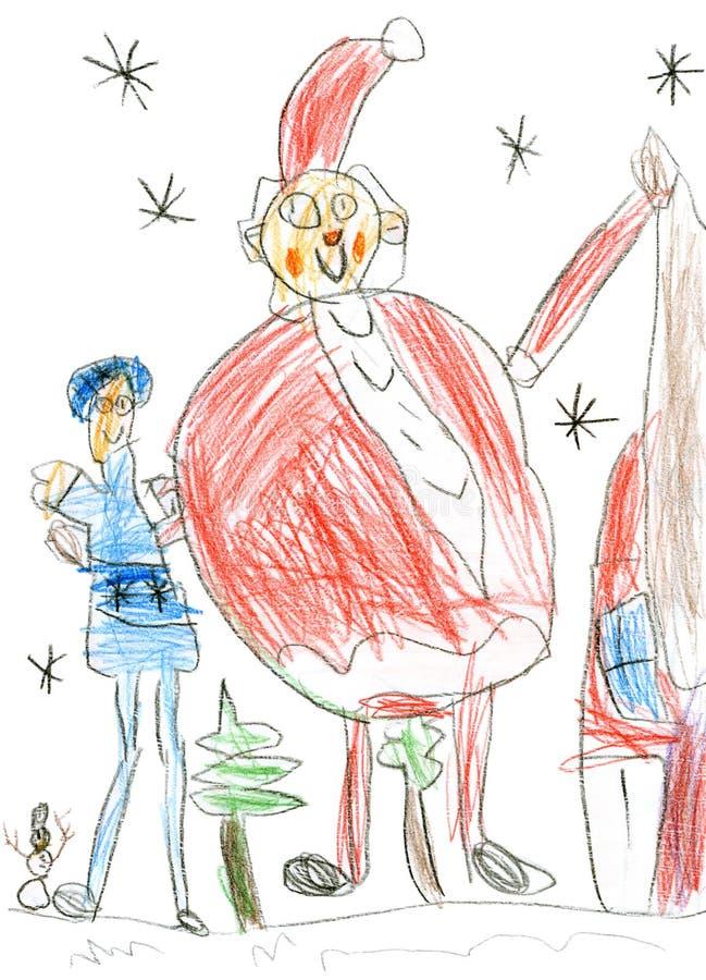 Rosyjscy Bożenarodzeniowi charaktery: Ded Moroz & x28; Ojciec Frost& x29; i Snegurochka & x28; Śnieżny Maiden& x29; , children& x ilustracja wektor