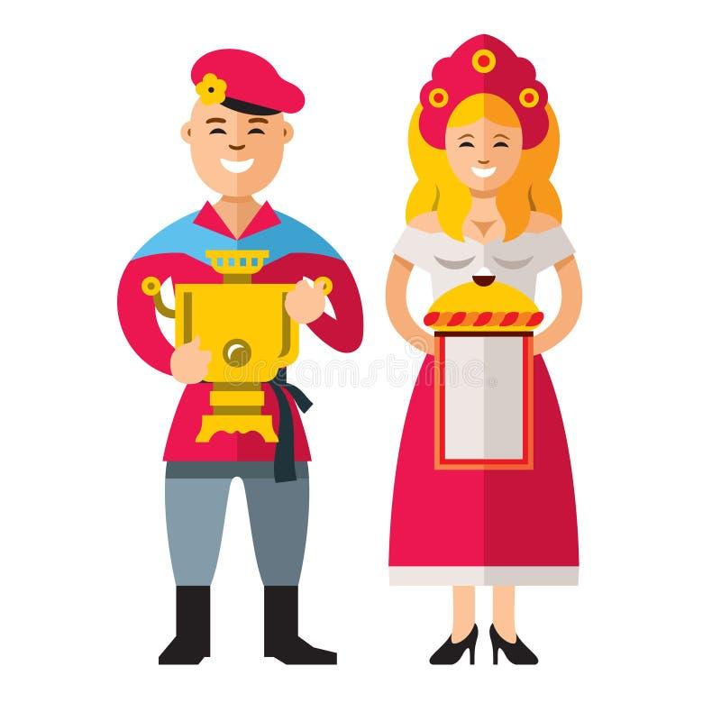 Rosyjscy ludzie Wektorowego mieszkanie stylu kreskówki kolorowa ilustracja ilustracja wektor