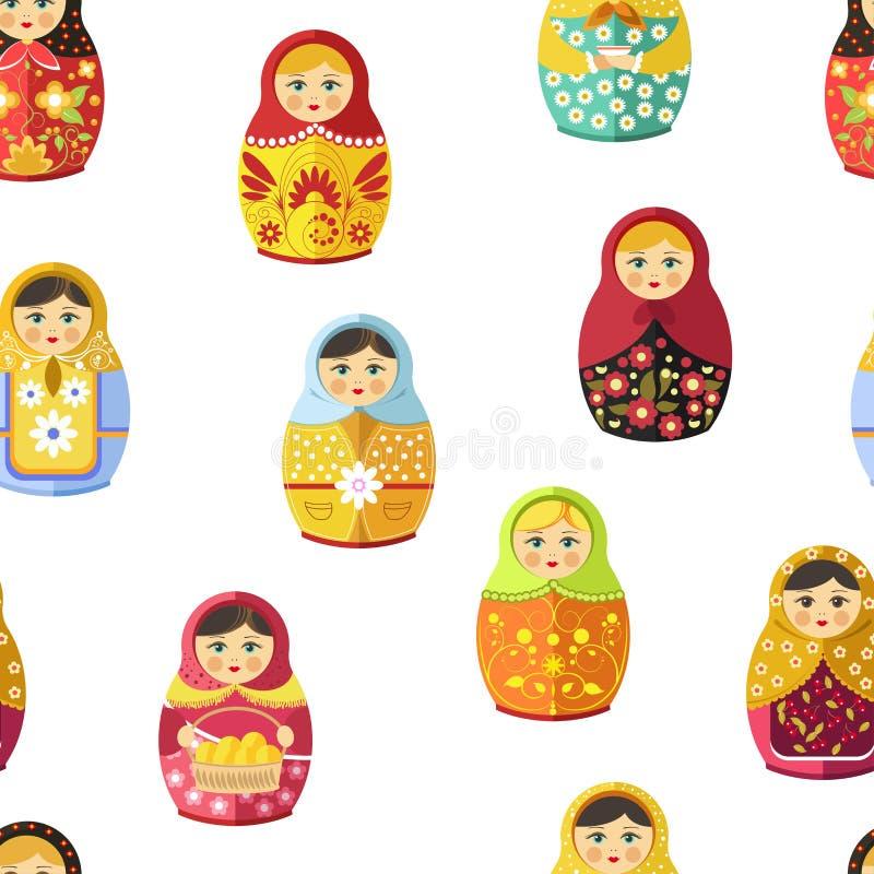Rosyjska gniazdować lala, tradycyjna drewniana pamiątka od Rosja bezszwowego wzoru odizolowywającego na białym wektorze royalty ilustracja