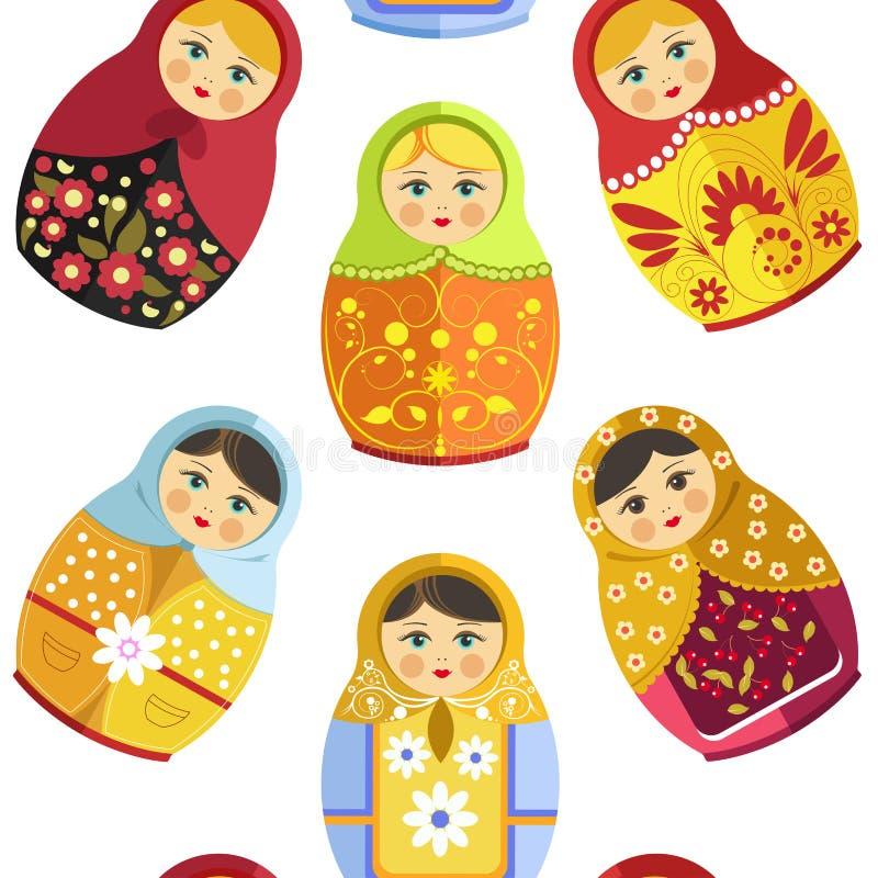 Rosyjska gniazdować lala, tradycyjna drewniana pamiątka od Rosja bezszwowego wzoru odizolowywającego na białym wektorze ilustracji