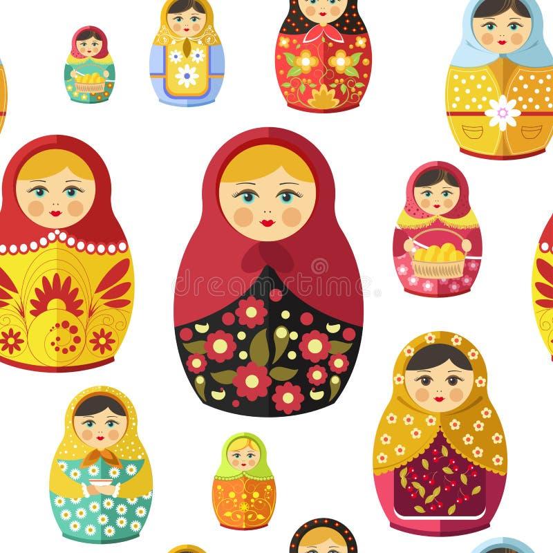 Rosyjska gniazdować lala, tradycyjna drewniana pamiątka od Rosja bezszwowego wzoru odizolowywającego na białym wektorze ilustracja wektor