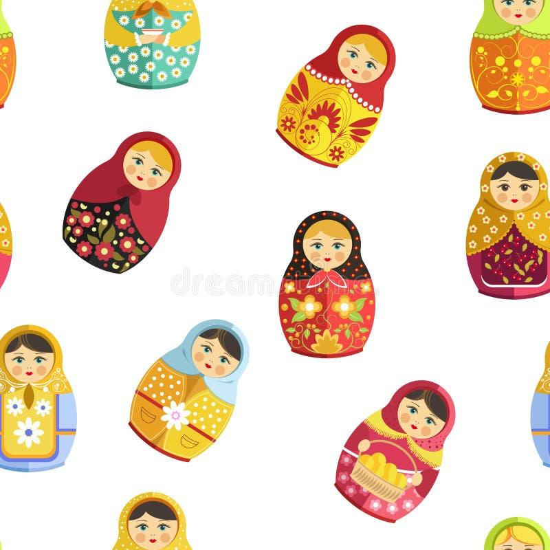 Rosyjska lala, tradycyjna drewniana pamiątka od Rosja bezszwowego wzoru royalty ilustracja