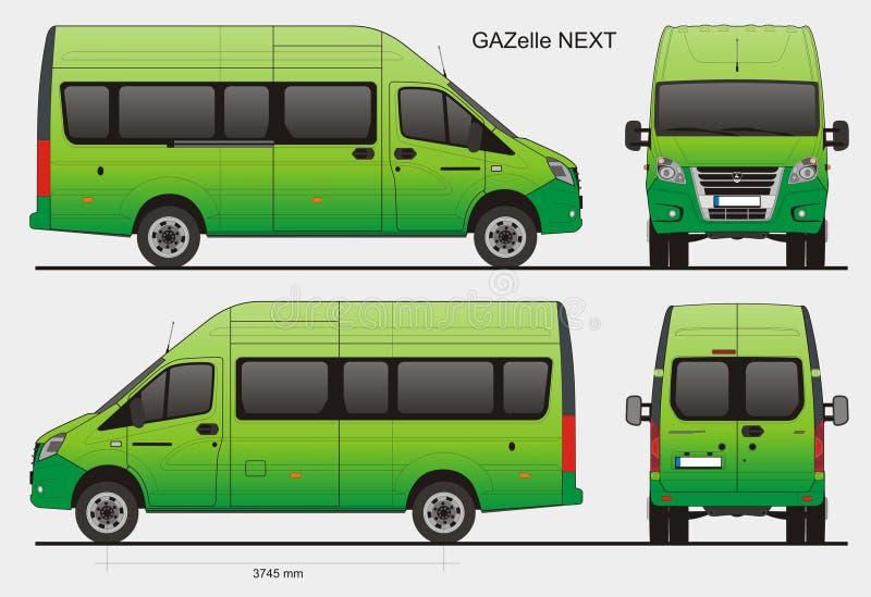 Rosyjska Pasażerska Autobusowa gazela Następny LWB ilustracja wektor