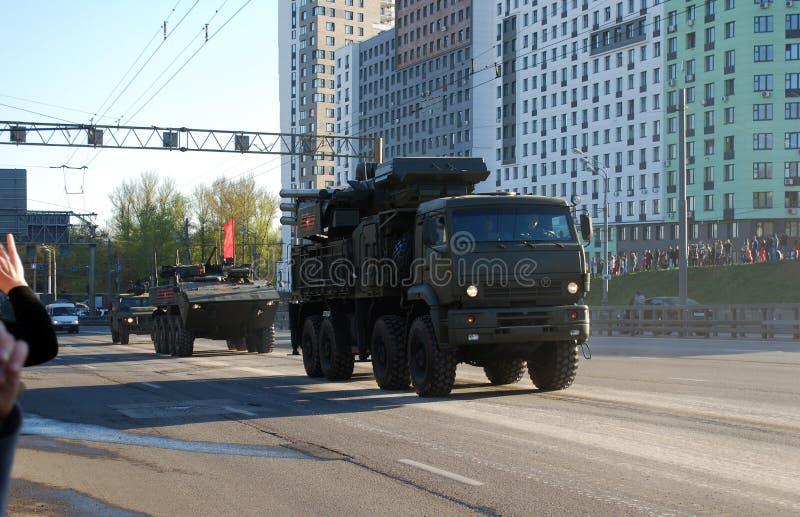 Rosyjska samojezdna ziemia-powietrze pociska Armour-C1 rakieta i pistoletu system obrazy royalty free