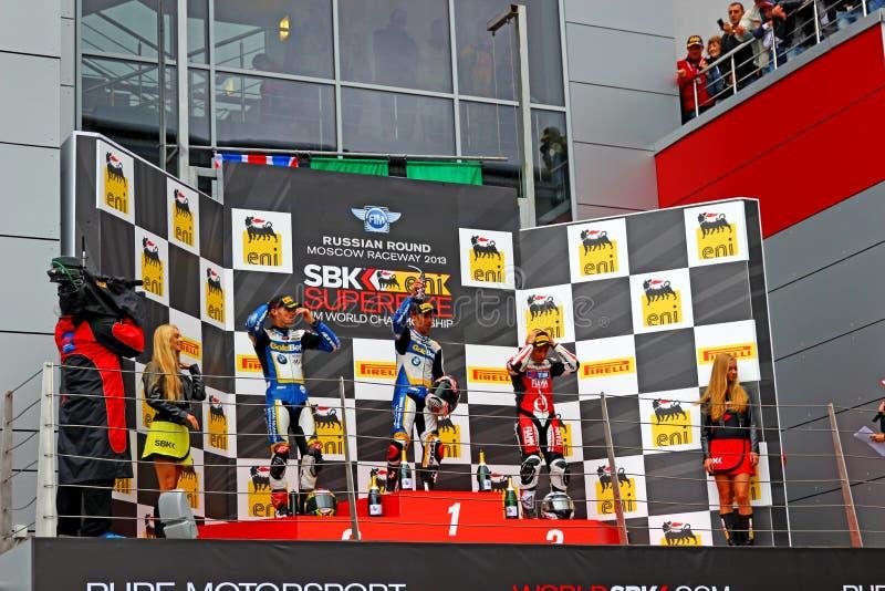 Rosyjska scena Superbike Światowy mistrzostwo, ceremonia wręczenia nagród, podium, na Lipu 21, 2013, w Moskwa młynówce, Moskwa, Ro obraz stock