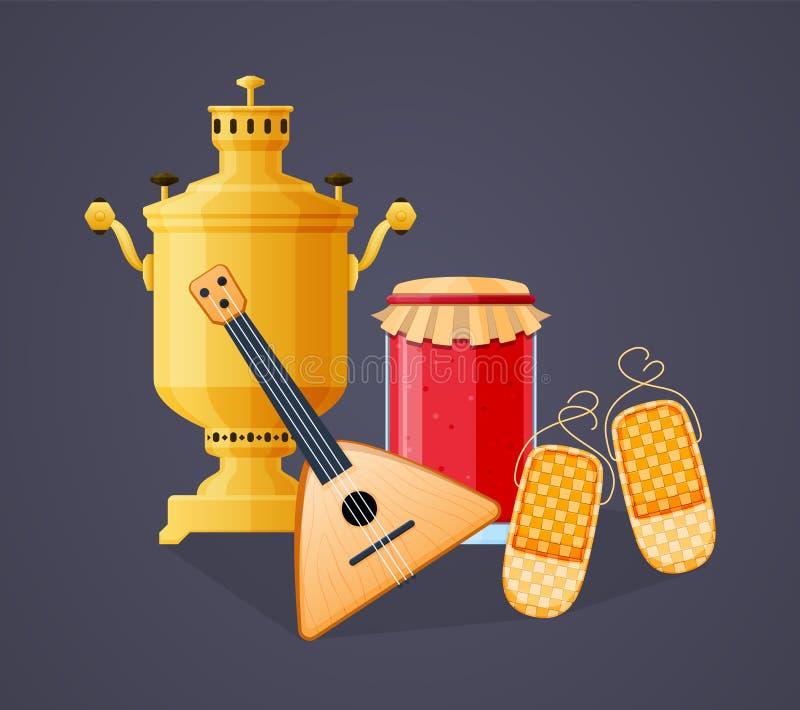 Rosyjska tradycji pamiątka, rosyjska ajerówki butelka z rosyjskim instrumentem muzycznym royalty ilustracja