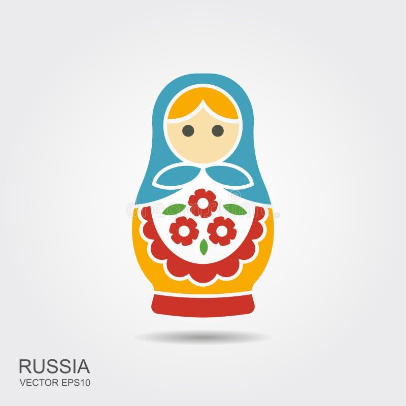 Rosyjska tradycyjna lali pamiątka - matryoshka ilustracja wektor