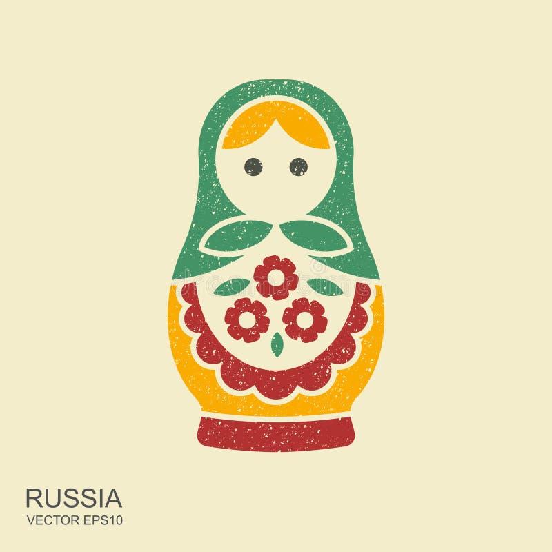Rosyjska tradycyjna lali pamiątka - matryoshka Płaska ikona z scuffed skutkiem ilustracja wektor