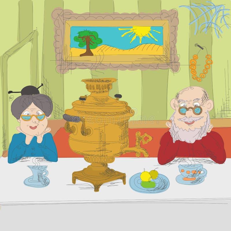 Rosyjski herbaciany przyjęcie ilustracja wektor