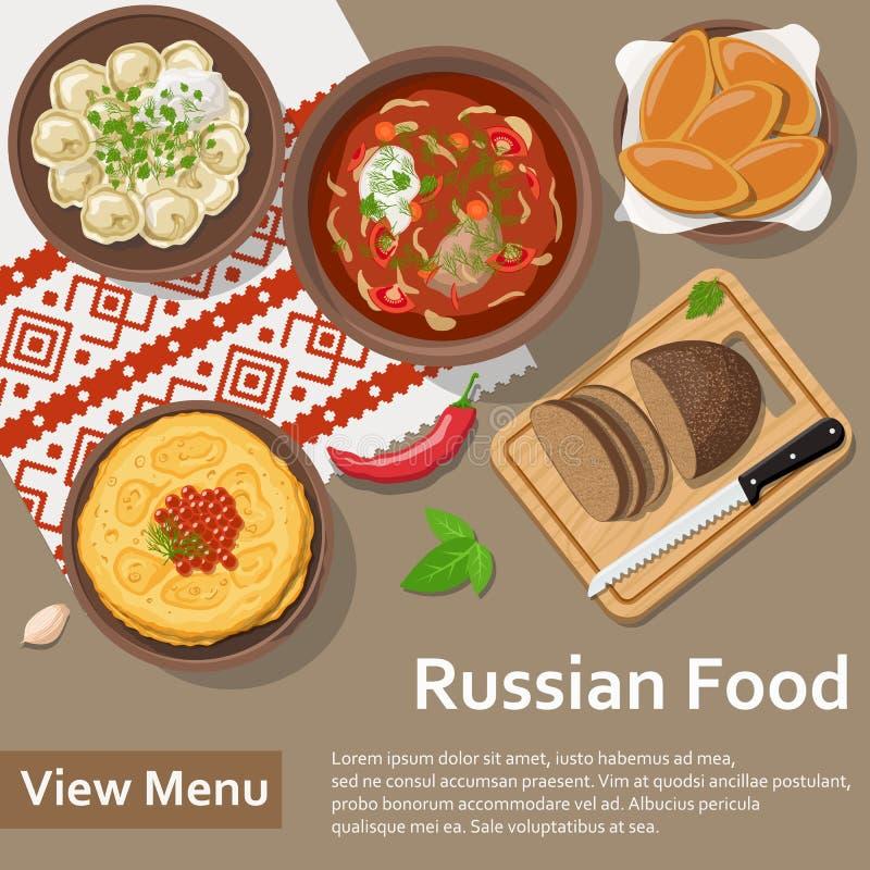 Rosyjski jedzenie Mieszkania Lay stylu ilustracja ilustracji
