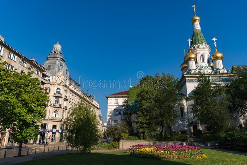 Rosyjski kościół, znać jako kościół St Nicholas producent jest rosyjski kościół prawosławny w środkowym Sofia, Bułgaria fotografia royalty free