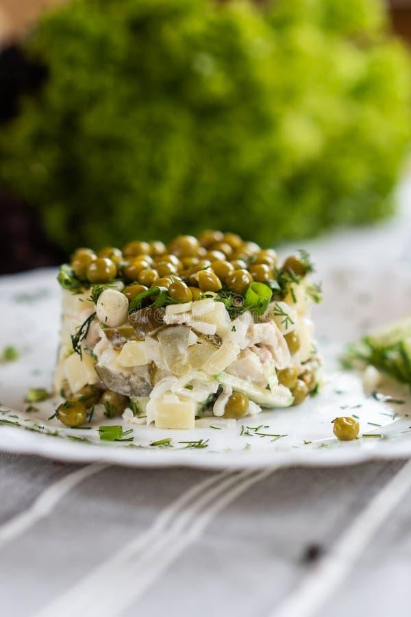 Rosyjski krajowy jedzenie Tradycyjny sałatkowy Olivie Łasowania pojęcie Jaskrawy - zielony tło dla teksta i projekta obraz stock