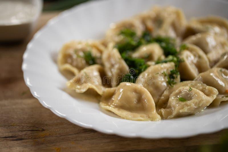 Rosyjski krajowy jedzenie Zamyka w górę widoku tradycyjny belorussian posiłek Kluchy w bielu talerzu z zielenią i podśmietaniem s zdjęcia stock
