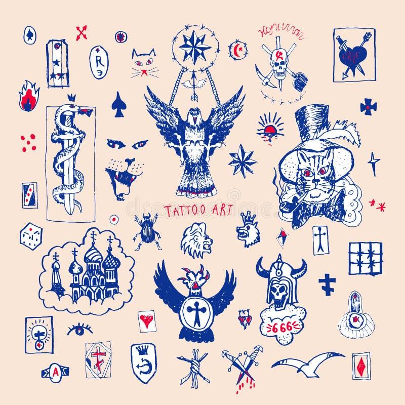 Rosyjski kryminalny tatuaż Duży wektorowy ustawiający tatuaż royalty ilustracja