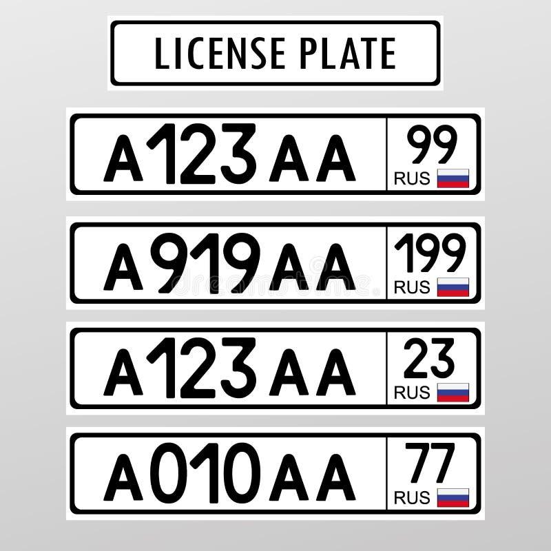 Rosyjski licencja numerowy talerz Mieszkanie stylu projekt ilustracji