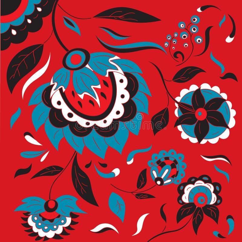 Rosyjski ludowy kwiecisty tło w Khokhloma stylu royalty ilustracja