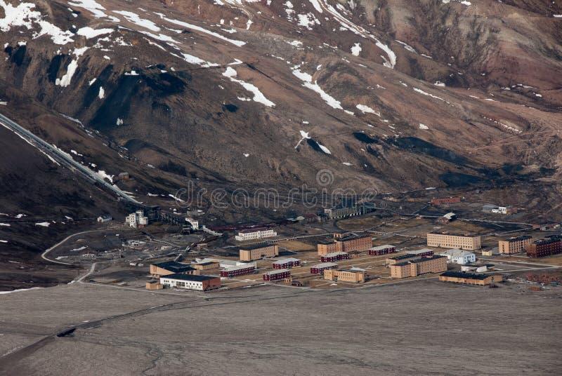 Rosyjski miasto widmo Pyramiden w Svalbard archipelagu w wysoki Arktycznym od above obraz royalty free