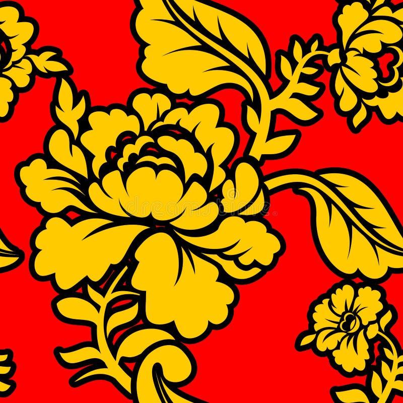 Rosyjski obywatela wzór Hohloma Tradycyjny Ludowy ornament w R royalty ilustracja
