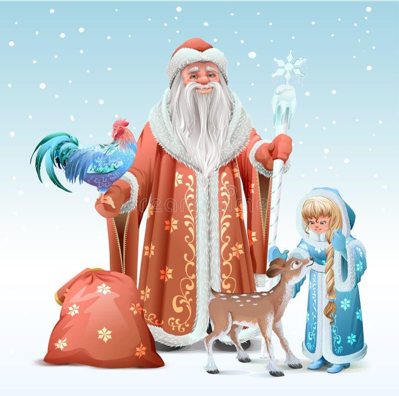 Rosyjski ojca mróz, Śnieżna dziewczyna, błękitny koguta symbol 2017 i źrebię, royalty ilustracja