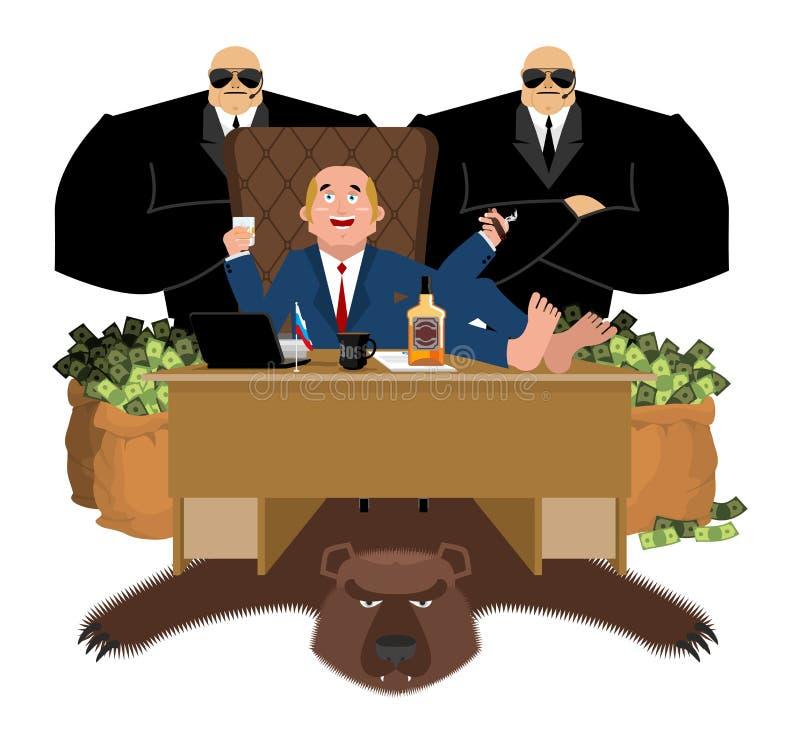 Rosyjski oligarcha siedzi przy stołem i pije whisky Dymić ciga ilustracja wektor