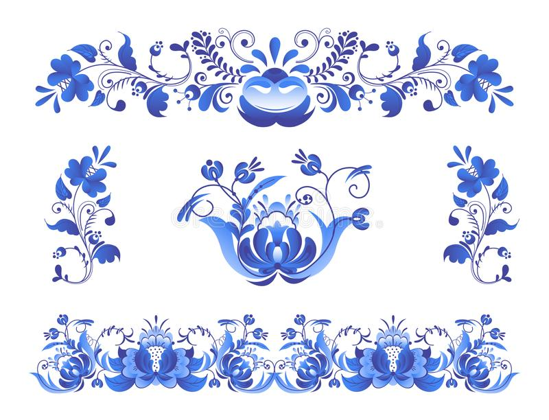Rosyjski ornament sztuki gzhel styl malujący z błękitem na białego kwiatu kwiatu gałąź wzoru tradycyjnym ludowym wektorze ilustracja wektor