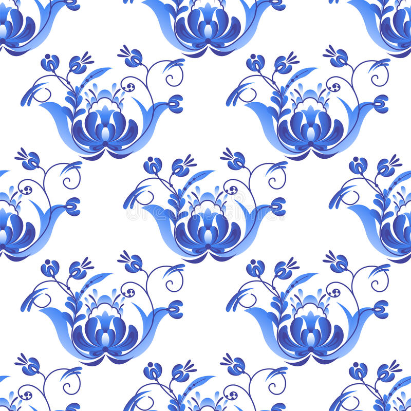 Rosyjski ornament sztuki gzhel styl malujący z błękitnego kwiatu kwiatu gałąź wzoru bezszwowym deseniowym tradycyjnym ludowym wek ilustracji