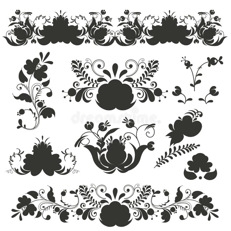 Rosyjski ornament sztuki gzhel styl malujący z czarnego sylwetka kwiatu kwiatu gałąź wzoru tradycyjnym ludowym wektorem ilustracja wektor