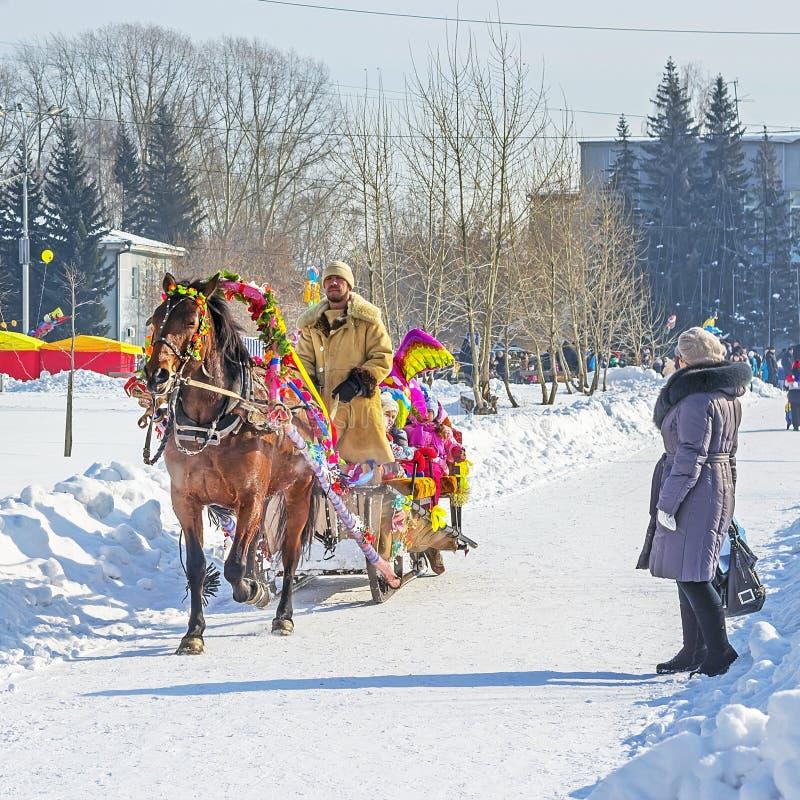 Rosyjski ostatki świętowanie (z zimy, wiosny spotkania,) zdjęcia royalty free