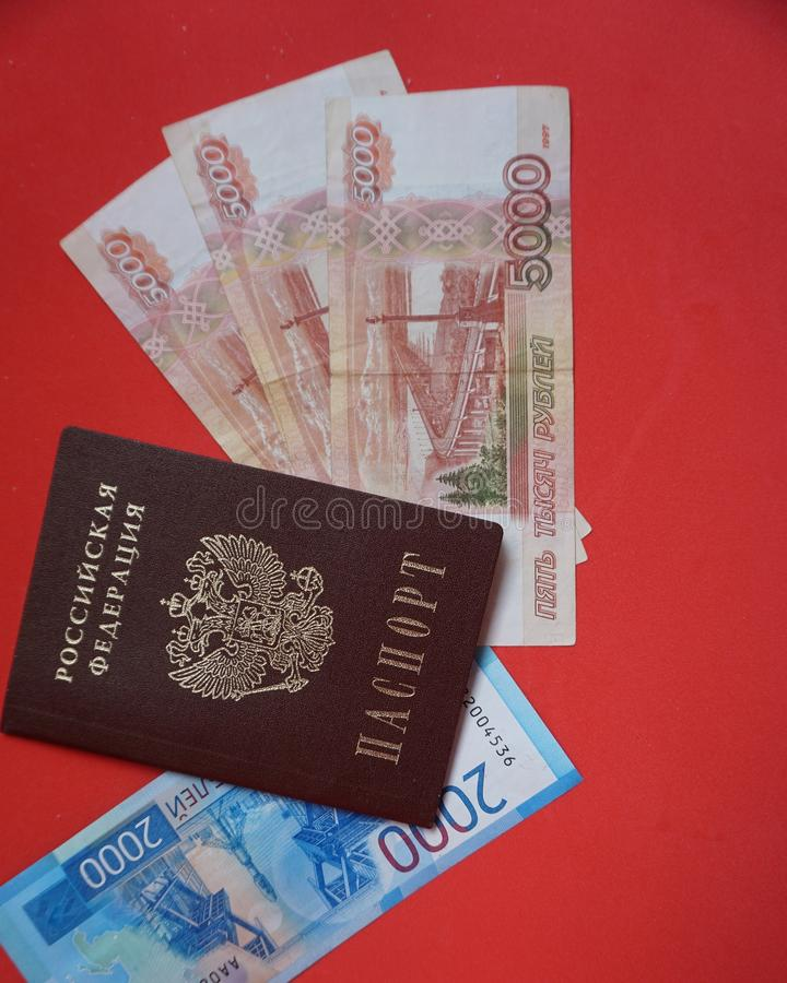 Rosyjski paszport i banknoty obrazy royalty free