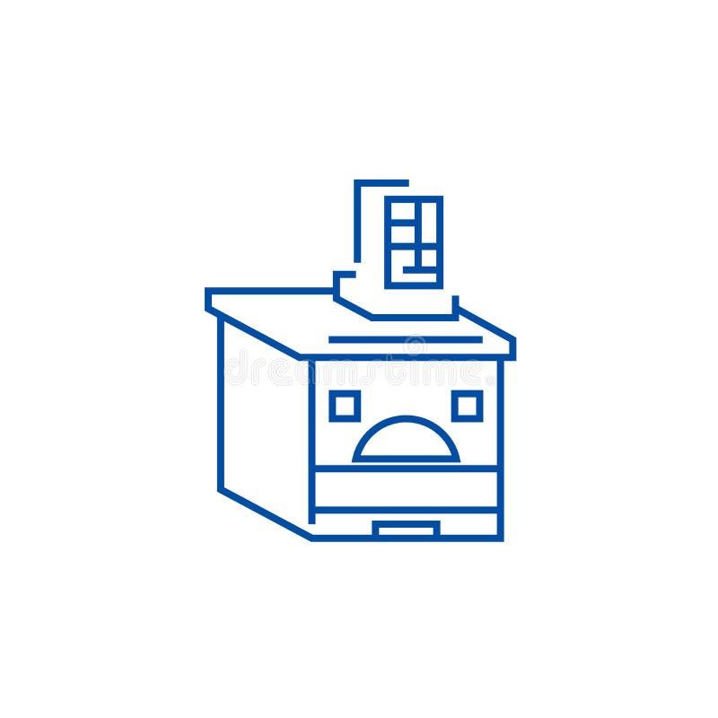 Rosyjski piekarnik linii ikony pojęcie Rosyjskiego piekarnika płaski wektorowy symbol, znak, kontur ilustracja ilustracji