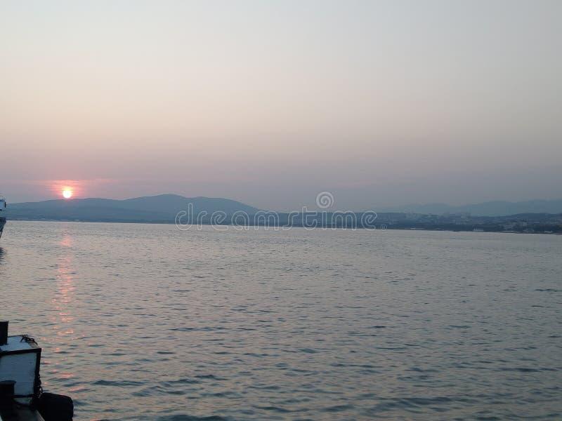 Rosyjski Południe Zachód słońca Morze zdjęcia royalty free